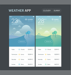 Weather application template cloudy and sunny vector