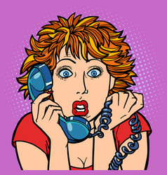 woman is surprised human emotions telephone vector image
