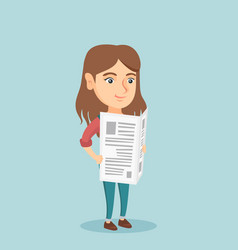 young caucasian woman reading a newspaper vector image