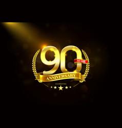 90 years anniversary with laurel wreath golden vector image