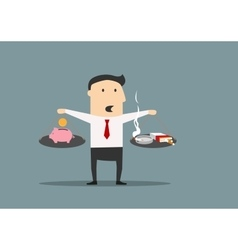 Businessman counting the cost of smoking vector image vector image