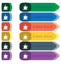 coffee icon sign Set of colorful bright long vector image