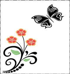 silhouettes of butterfly and flowers vector image vector image