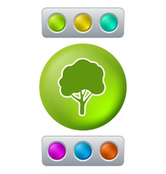 Tree on green button vector image
