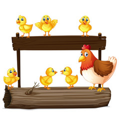 wooden sign with hen and little chicks vector image vector image
