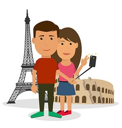 Young couple man and woman are making travel vector image vector image