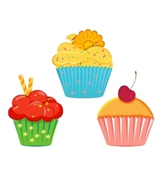 Collection of cupcakes vector image vector image