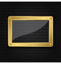 Glass in golden frame on abstract metal speaker gr vector image