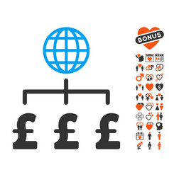 global pound payments icon with love bonus vector image
