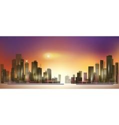 Modern night city skyline at sunset vector image vector image