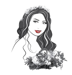 Portrait of a girl with flowers - vector