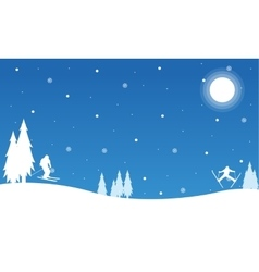 Silhouette of Christmas landscape collection vector image vector image