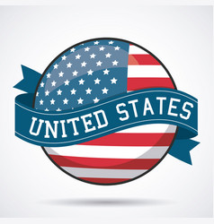 usa flag ribbon button decoration design vector image vector image