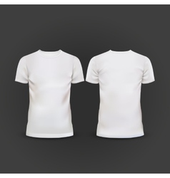 white T-shirt template isolated on black vector image