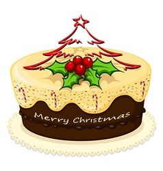 A delicious cake for Christmas vector image vector image