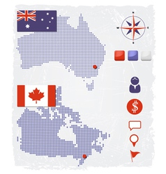 Australia and Canada dotted maps with design eleme vector image vector image