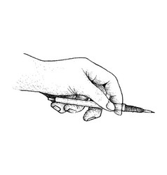 Hand holding a pencil preparing for drawing vector