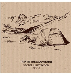 Outdoor trip to the mountains vector image vector image