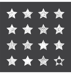 Set of hand drawn stars on black background vector image vector image