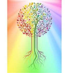 tree on rainbow background vector image vector image