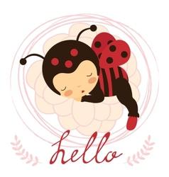 Beautiful ladybug baby card vector image