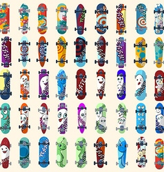 Big Set of skateboards and skateboarding elements vector image