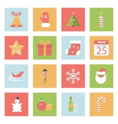 Christmas and New Year flat icons set vector image