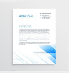 clean minimal letterhead design with blue shape vector image vector image