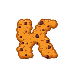 k letter cookies cookie font oatmeal biscuit vector image vector image