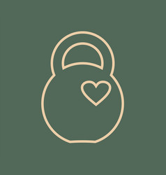 kettlebell icon with heart vector image