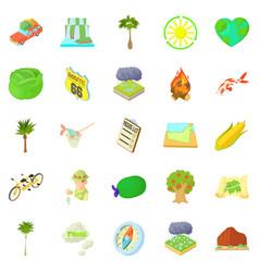 tourist life icons set cartoon style vector image