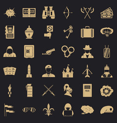 Aggression icons set simple style vector