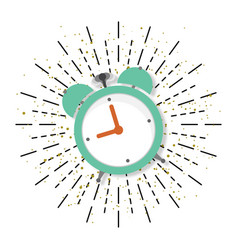alarm clock in flat style with burst vector image