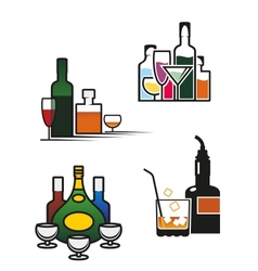 Alcohol drinks set vector