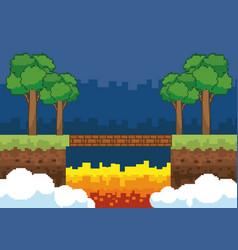 Arcade game world and pixel scene design vector