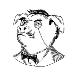 Aristocratic pig monocle black and white drawing vector