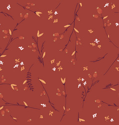 autumn floral seamless pattern with leaves vector image