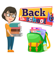 Back to school schoolbag and girl with books pile vector
