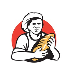 Baker Holding Bread Loaf Retro vector