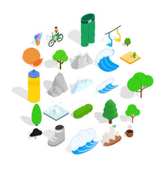 Beauty of the world icons set isometric style vector