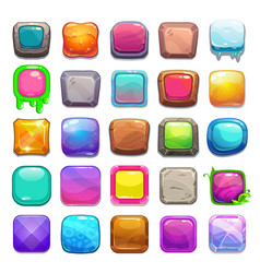Big set of cartoon square buttons vector