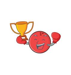 boxing bowling ball character cartoon winner vector image