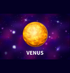 bright realistic venus planet on colorful deep vector image
