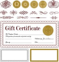 burgundy certificate frame set vector image