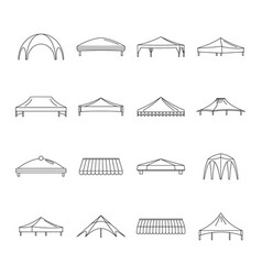 Canopy shed overhang icons set outline style vector