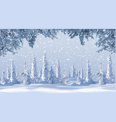 cartoon winter background with snow covered firs vector image