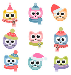 Cats with winter clothing isolated on white vector