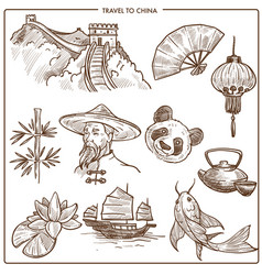 China travel symbols and sketch landmarks vector