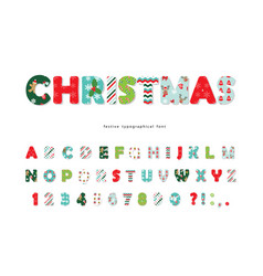 Christmas decorative font all patterns are full vector