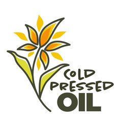 Cold pressed oil sunflower ingredient for cooking vector